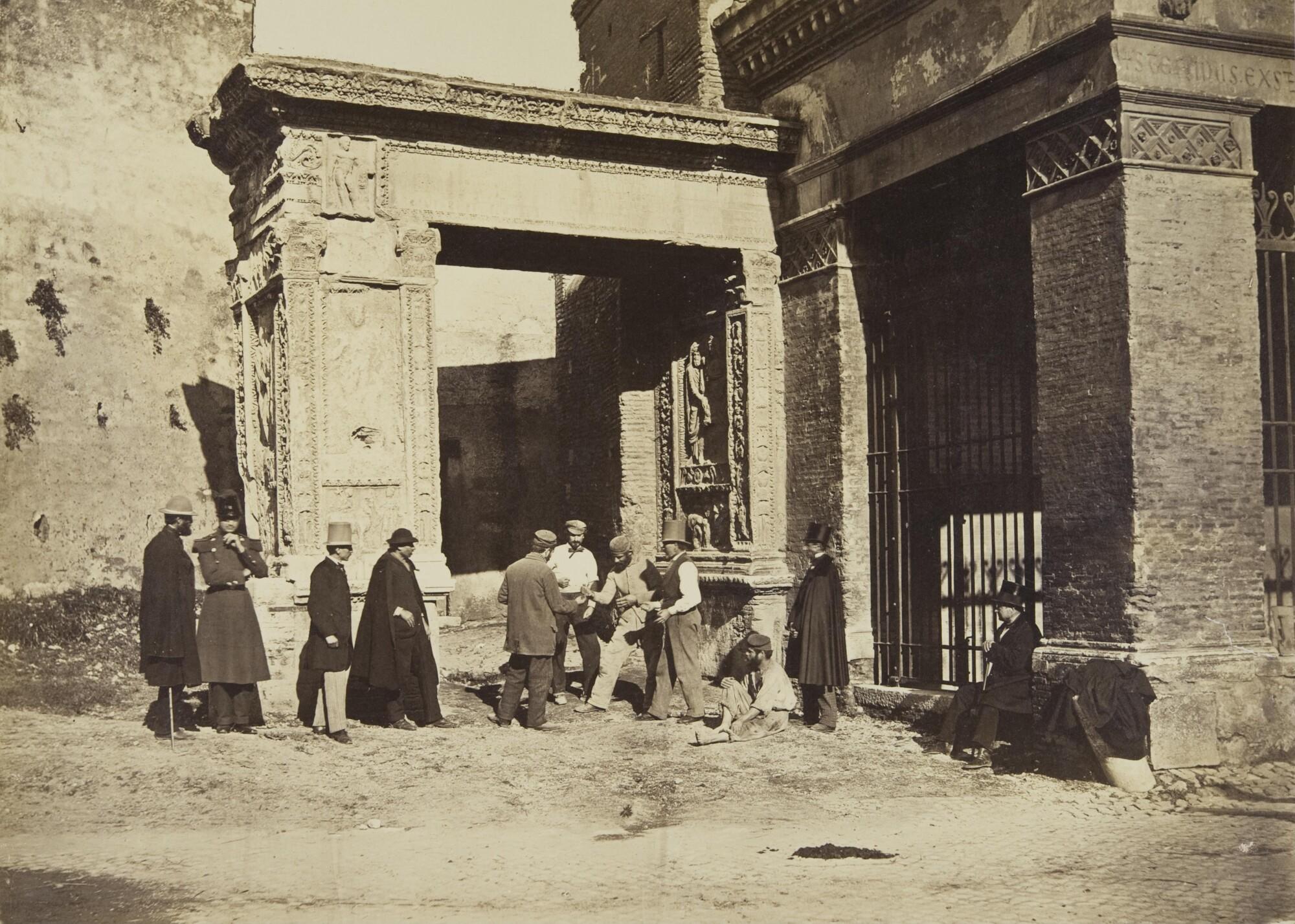 Альтобелли и Молинс.    Игроки в морру перед Аркой Аргентариев, 1860–1870‑е   Альбуминовый отпечаток