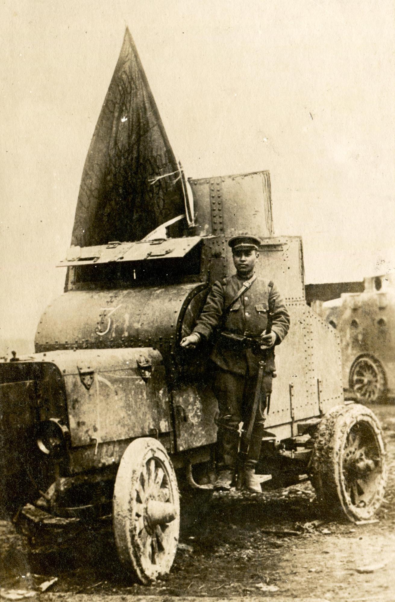 Русский бронеавтомобиль, захваченный японскими войсками в бою.    5 апреля 1920 года   © КГБНУК г. Хабаровск «ХКМ имени Н. И. Гродекова»
