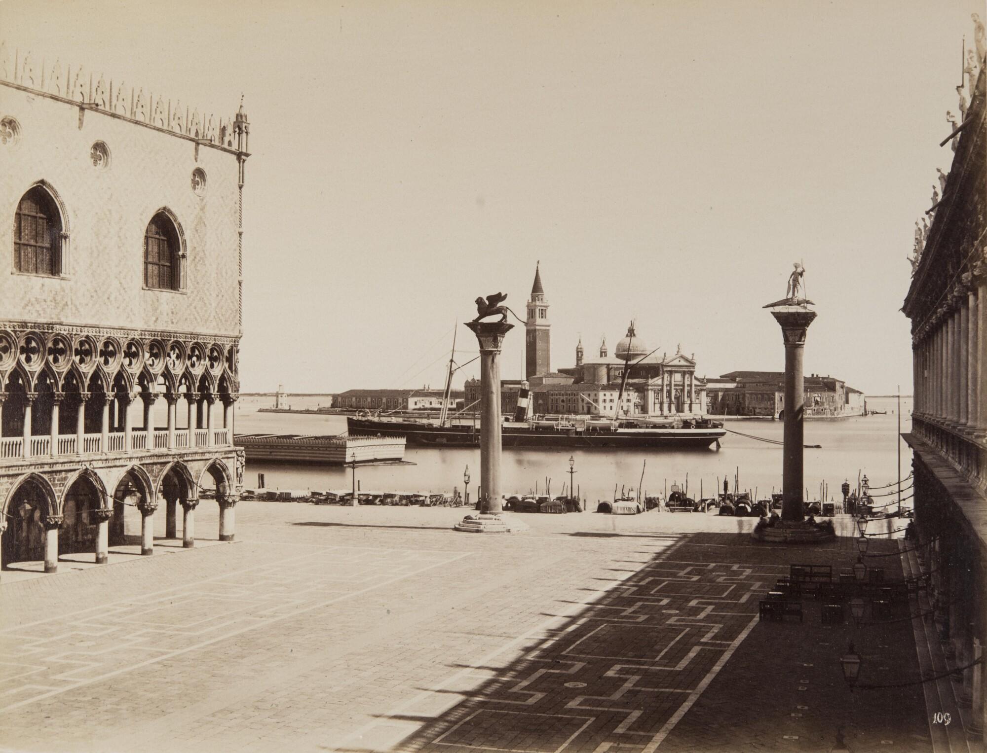 Карло Найя.  Вид на остров Сан Джорджо Маджоре с Пьяцетты ди Сан Марко,1876 Альбуминовый отпечаток