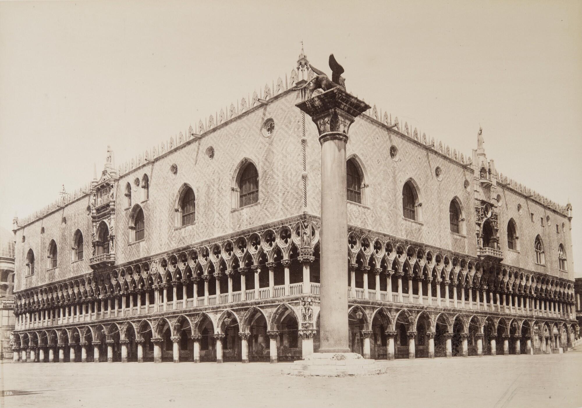 Карло Найя.    Дворец дожей и колонна Святого Марка, 1876   Альбуминовый отпечаток