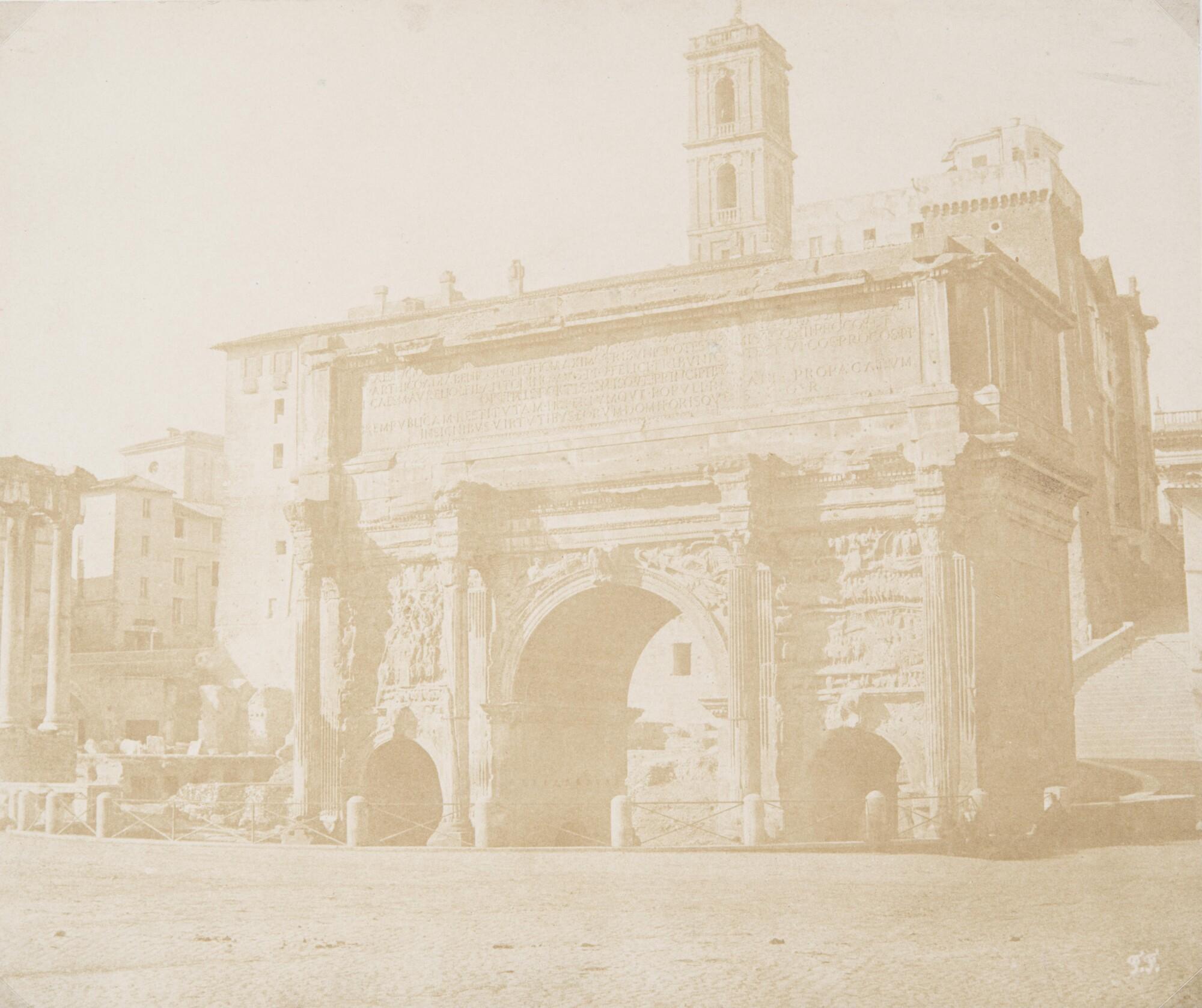 Фредерик Флашерон.    Арка Септимия Севера. Римский форум, 1848–1850   Отпечаток на соленой бумаге