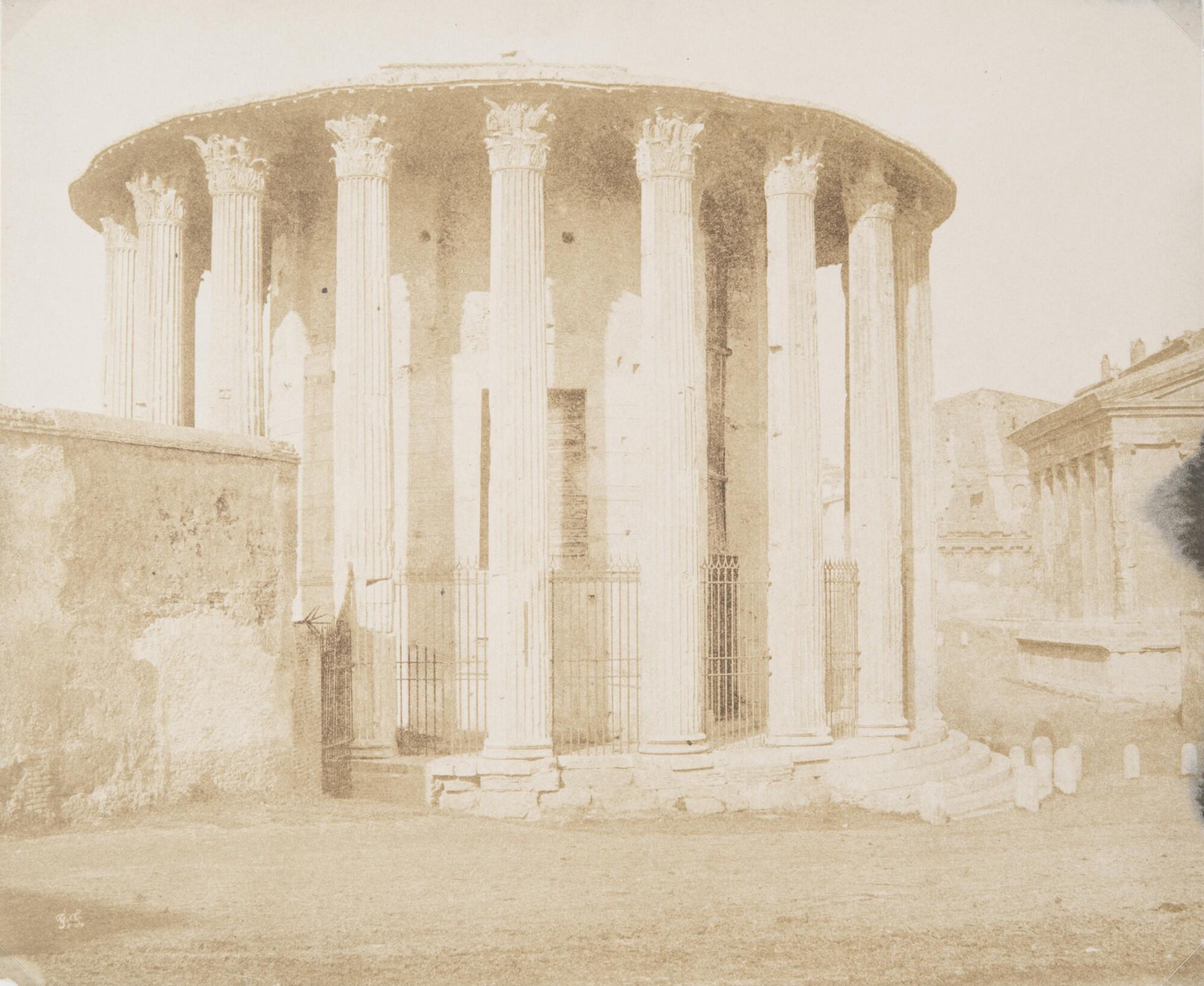 Фредерик Флашерон.    Храм Геркулеса на Бычьем форуме,1848–1850   Отпечаток на соленой бумаге
