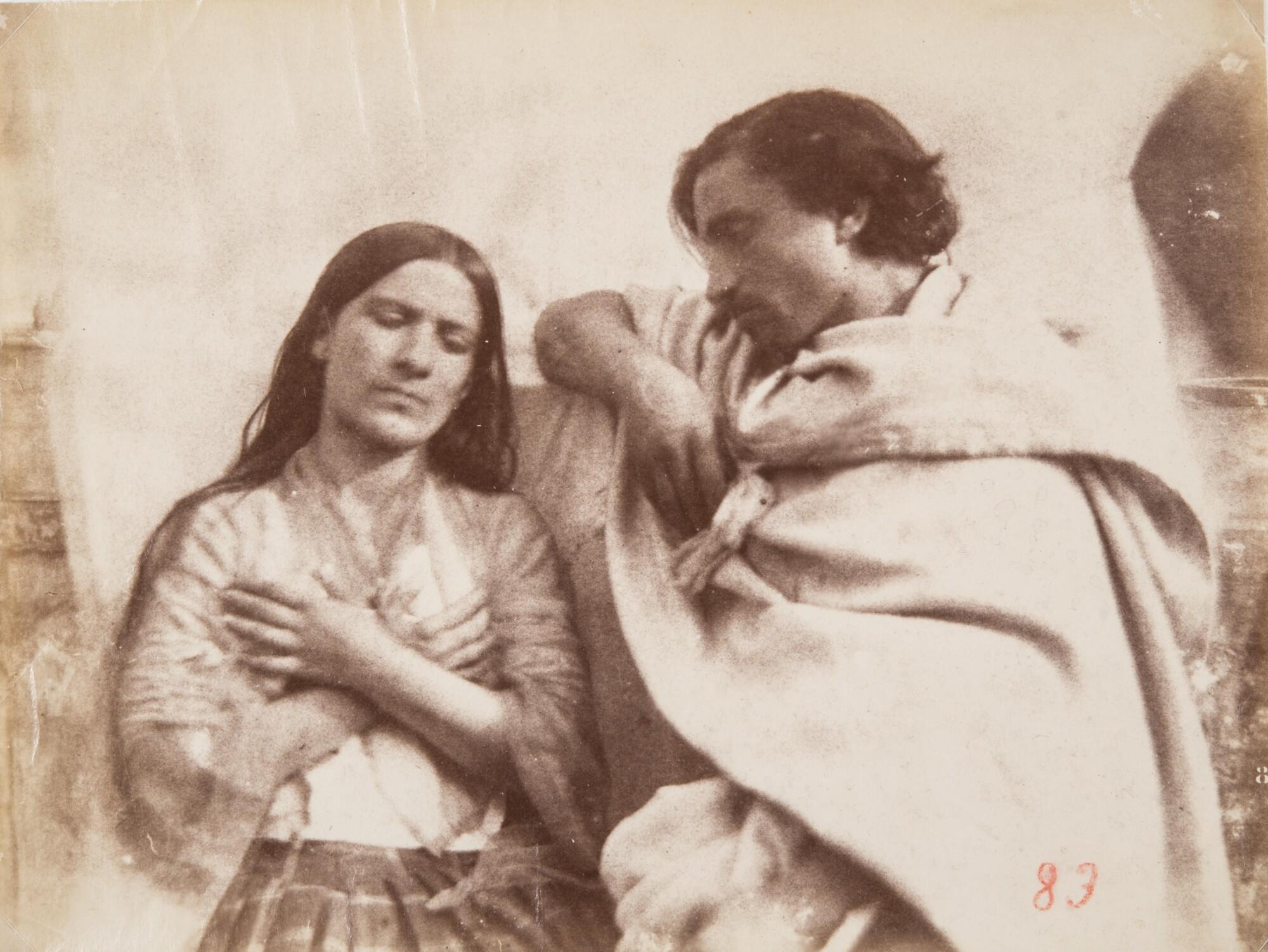 Джакомо Канева.  Портрет молодой пары в традиционных костюмах,1850‑е Альбуминовый отпечаток