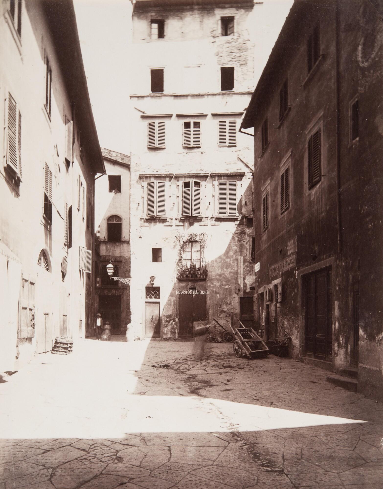 Алинари.    Старый рынок. Пьяцца дель Монте ди Пьета, 1880   Альбуминовый отпечаток