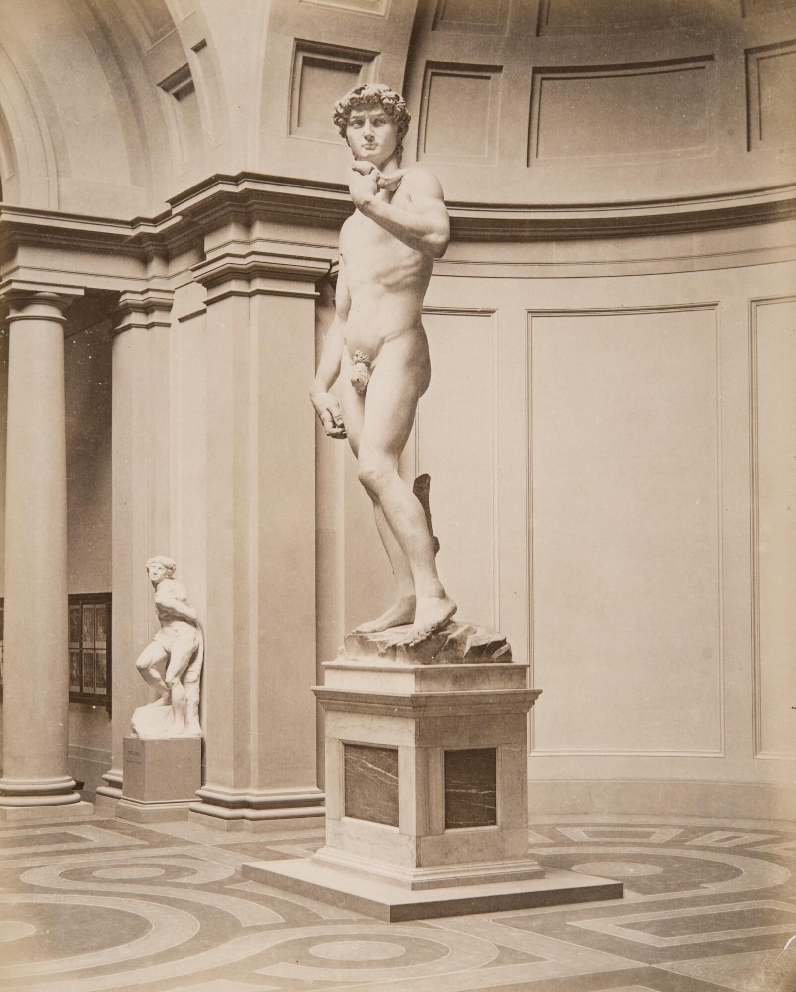 Алинари.    Микеланджело, статуя «Давид». Галереи Академии изящных искусств, 1860‑е   Альбуминовый отпечаток