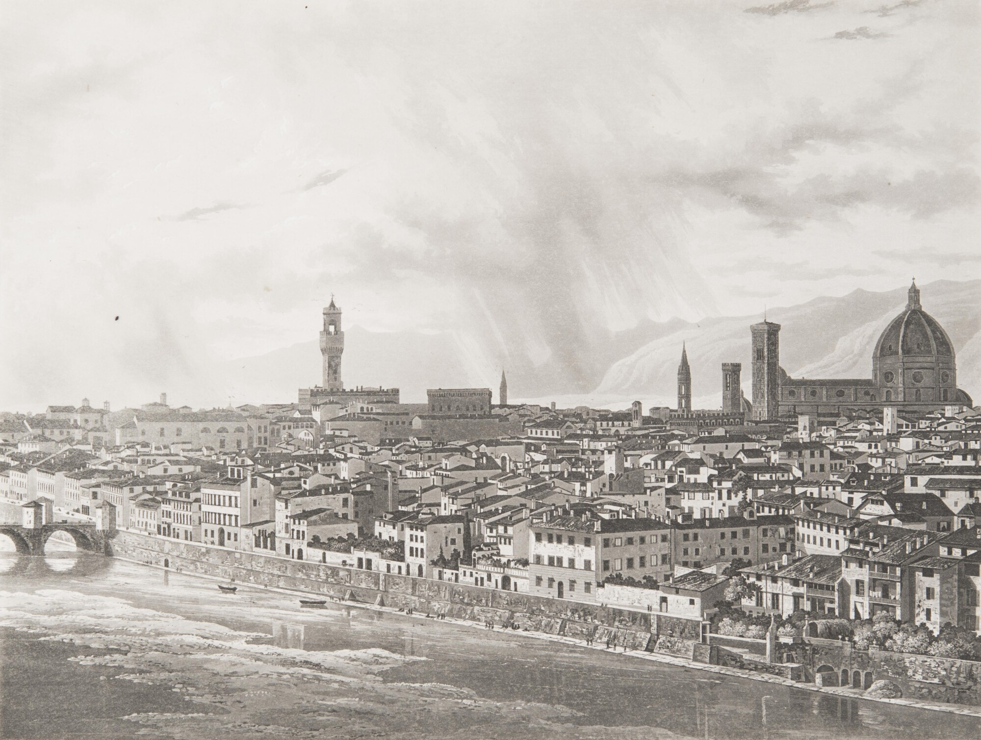 Неизвестный автор.    Панорама Флоренции от порто Сан-Никколо, 1840–1845   Гравюра Иоганна Якоба Фалькайзена с дагеротипа