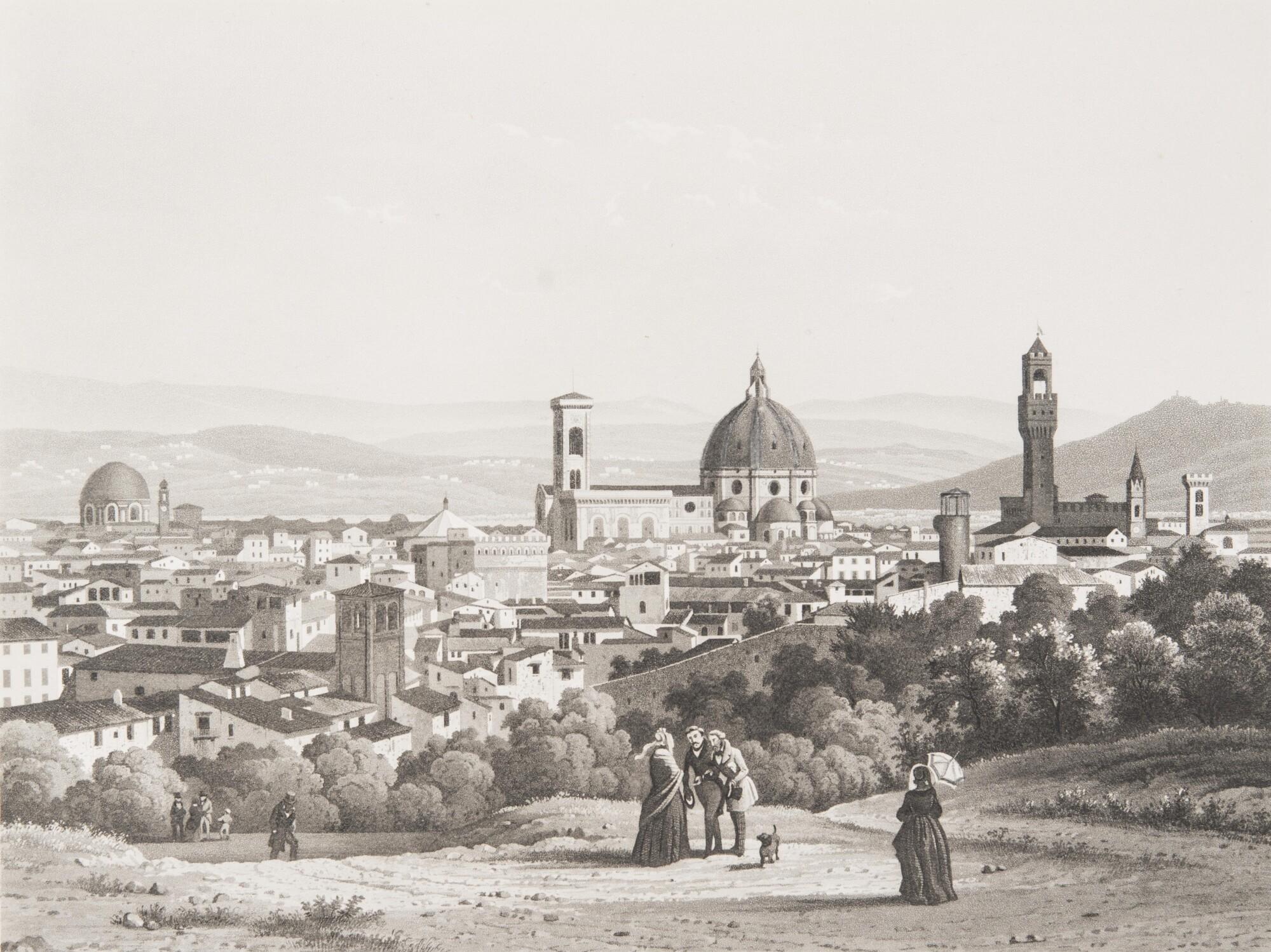 Неизвестный автор.    Панорама Флоренции, 1840–1845   Гравюра Луи Шербуэна с дагеротипа