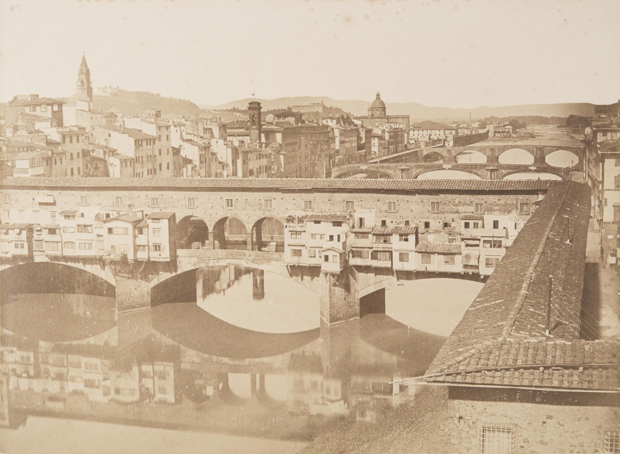 Алинари.    Понте Веккьо, 1855   Альбуминовый отпечаток