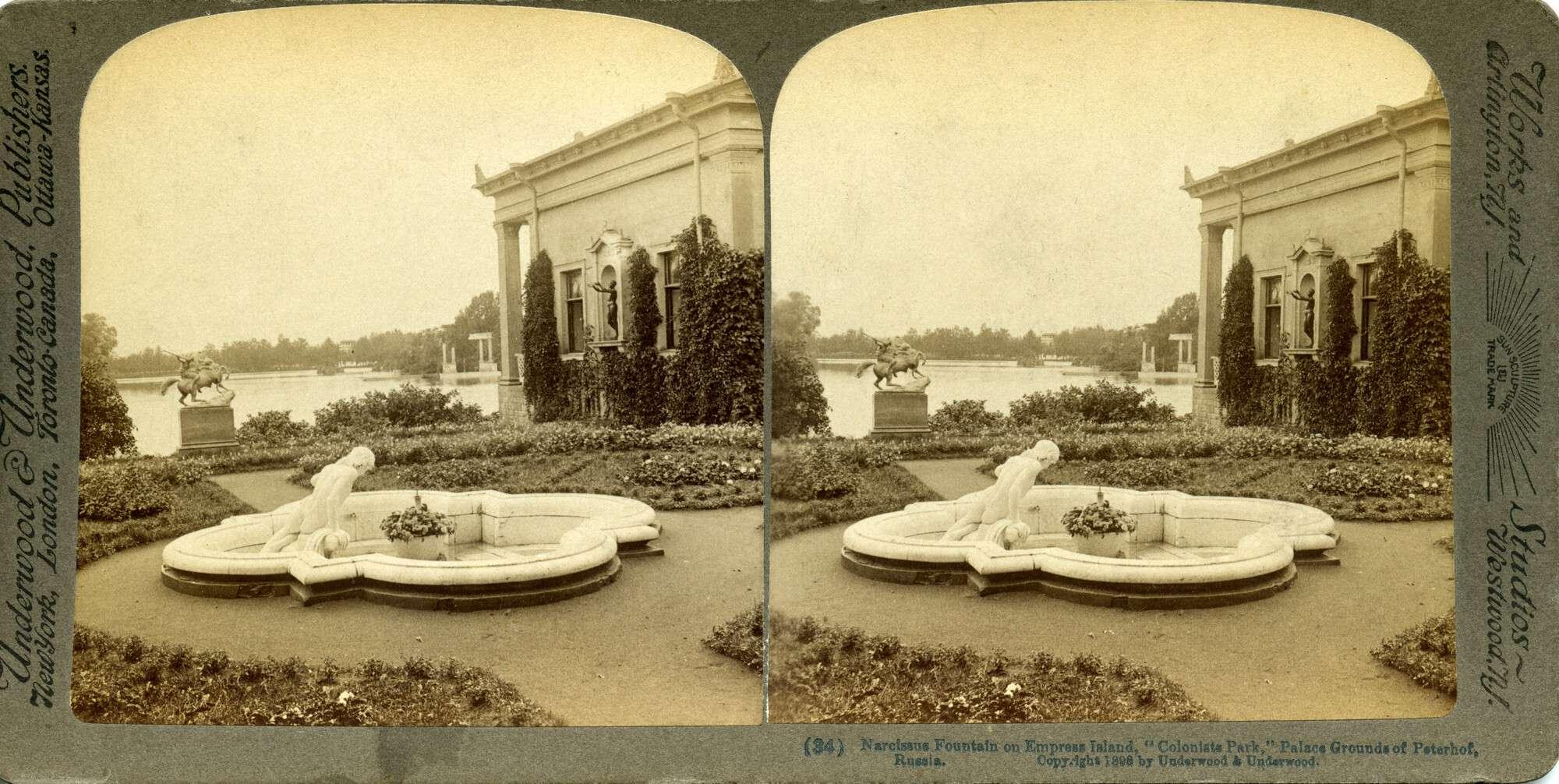 Царицын остров в Петергофе. Фонтан «Нарцисс», 1898.    Фирма «Underwood & Underwood»
