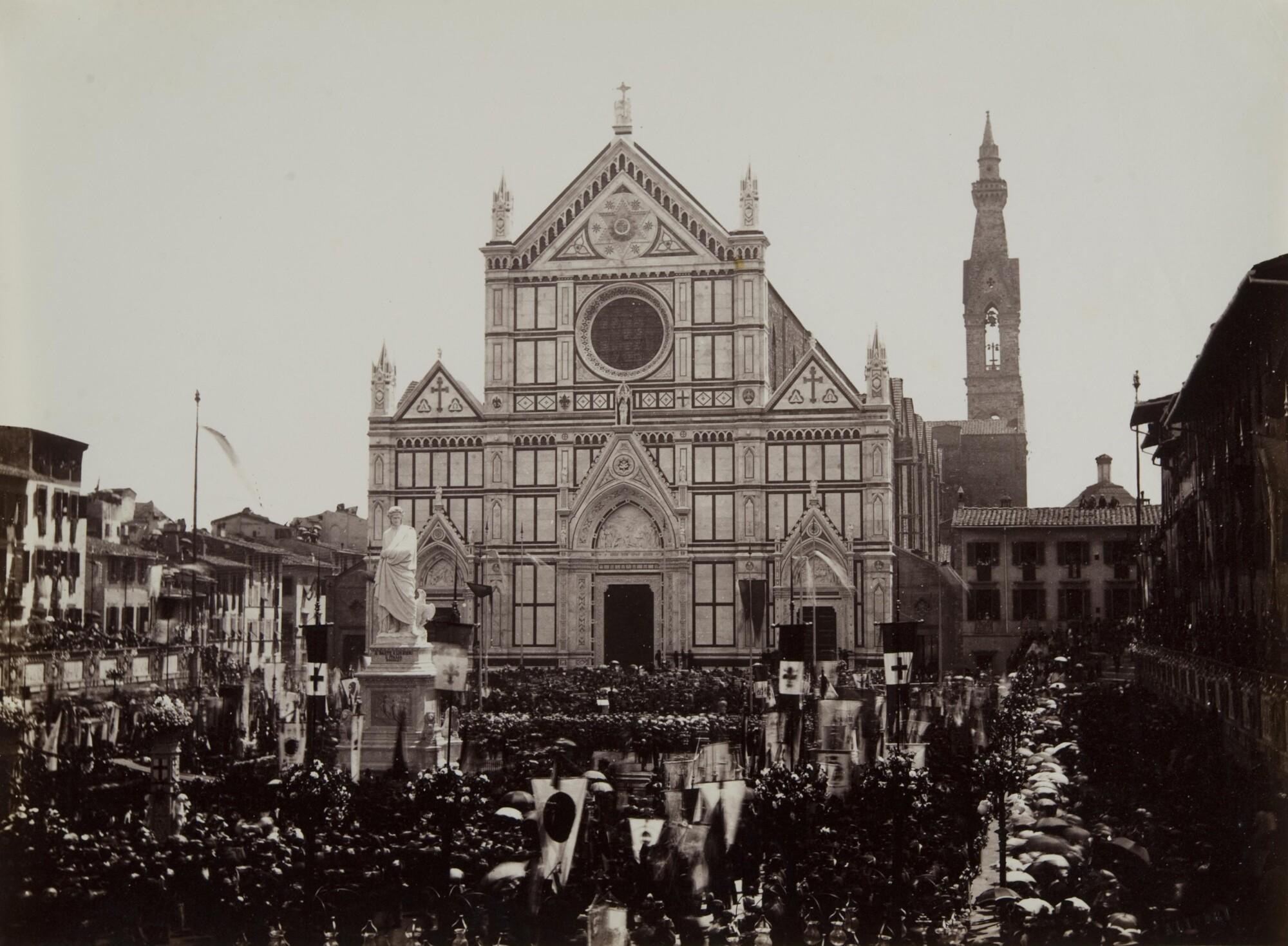 Алинари.    Открытие памятной статуи Данте Алигьери. Площадь Санта-Кроче, 1865   Альбуминовый отпечаток